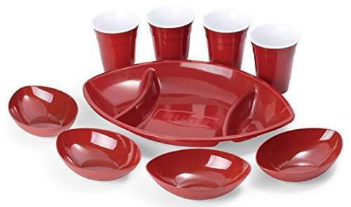 9 Piece Football Shape Game Day Serving Tray Set Includes Football Divided Tray, 4 Football Bowls, 4 Large Drink Beverage Cups