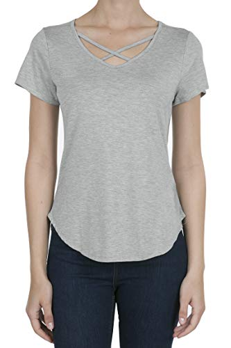 Cross Criss Top Knit (9003 Women's Casual Short Sleeve Solid Criss Cross V-Neck T-Shirt Tops LT.H.Grey XL)