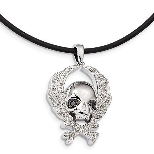 - 925 Sterling Silver Rhod Plated White Black Diamond Skull Pendant Charm Necklace Rubber Cord Fine Jewelry Gifts For Women For Her