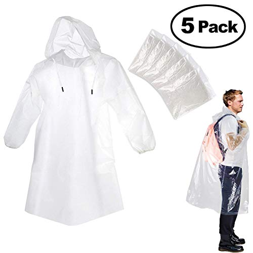 Portable Adult Rain Poncho, Emergency Rain Guard Disposable Raincoat with Hoods and Sleeves (One Size Fits All), Great for Theme/Disney Parks/Camping / Hiking/Sports (5 pcs)