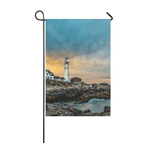 QQshiqI Fashion Custom Garden Flag Peaceful Sea Lighthouse Garden Flag 12x18 IN Without Flagpole Outdoor Celebrating Holidays Decor