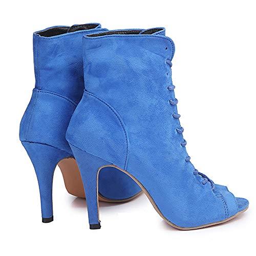 Tacon Flecos con EN DE Botines Estilo 10cm Tobillo de Cómodo Mujer Cuero de Suede Zapatos para Tacón de Botas Botas con Botas Vaquero Al Tacón Mujer Ancho Botas Cielo Azul POLP con Negro Imitación Mujer 4qBw5d
