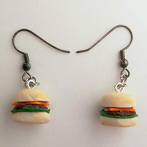 Cheese Burger Hamburger Earrings Faux Food Jewelry Halloween Costume -