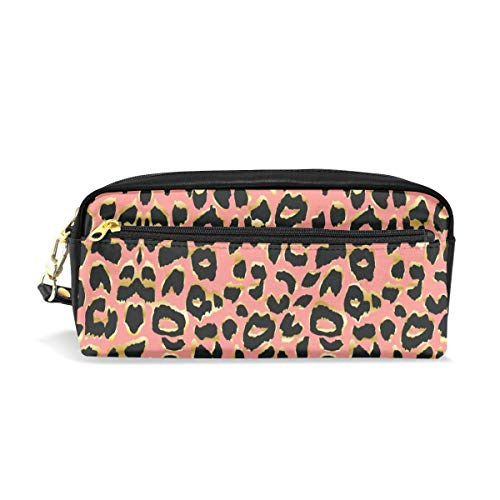Lucaeat Living Coral Leopard Print School Students Pencil Case Pen Bag]()