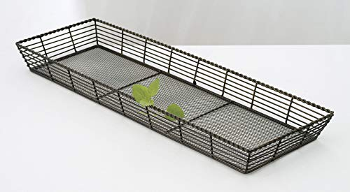 "G.E.T. Enterprises WB-706 22"" x 7"" Rectangular Black Wire Basket, 2"" Deep, Iron Powder Coated"