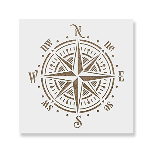Compass Rose Stencil Template - Reusable Stencil with Multiple Sizes Available ()