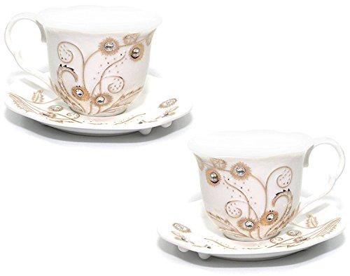 Euro Porcelain Rococo 4-pc Coffee Tea Cup Set, 24K Gold-plated w/ Swarovski Design inlaid Rhinestones, Bejeweled Bone China Cups (8 oz) w/ Square Saucers, Service for 2