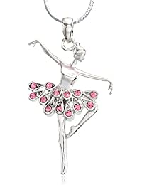 Dancing Ballerina Dancer Ballet Dance Pendant Necklace Charm