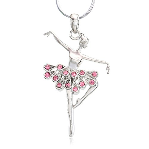 (Soulbreezecollection Light Pink Dancing Ballerina Dancer Ballet Dance Pendant Necklace Charm (Pink))