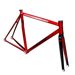 throne prism aluminum track frame redblack includes fork seat clamp and headset