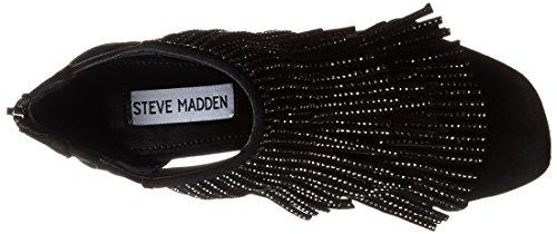 Sandalia Steve Madden Fringly tacón negro franjas y estrás Black Multi
