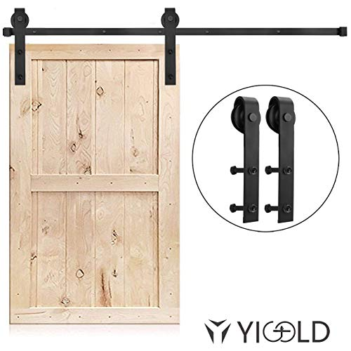 (8FT Sliding Door Hardware Track Kit Heavy Duty Sturdy Factory Outlet Carbon Steel- Ultra Smoothly and Quietly Design-Easy Installation-Fit 45