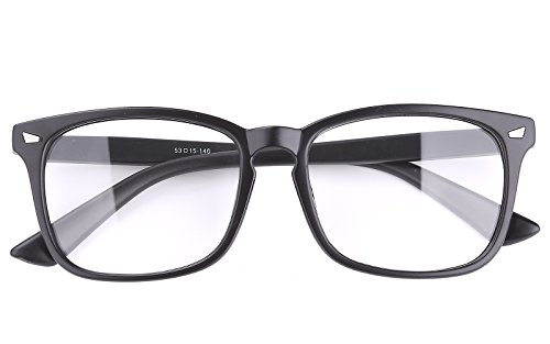 Agstum Wayfarer Plain Glasses Frame Eyeglasses Clear Lens (Matte black, - Black Glasses Plain
