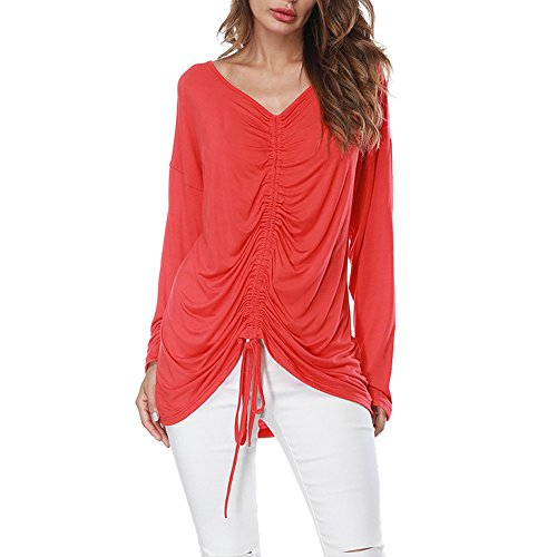 Women Long Sleeves Shirts Deep V-Neck Elastic Bandage Solid Pure Color Tops Loose T-Shirt Blouse Two Style Tops by LUCA