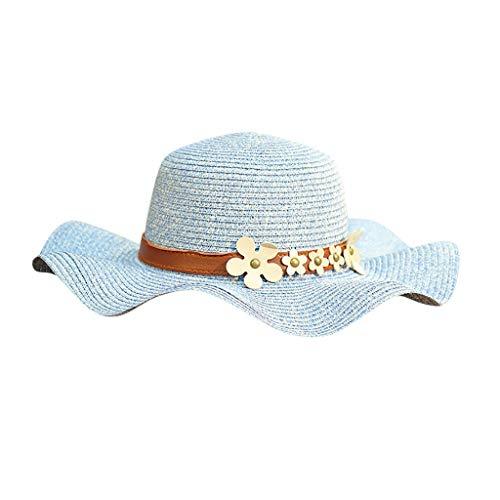 XILALU Women Beach Straw Hat Jazz Sunshade Panama Trilby Fedora Gangster Cap Packable Wide Brim Beach Cap -
