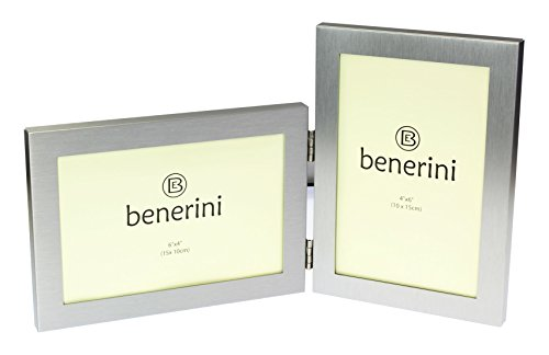 Metal Frame Combo - benerini Brushed Aluminum Satin Silver Color Twin 2 Picture Double Folding Photo Frame Gift - Takes 2 Standard 6 x 4 inch photographs (1 Landscape and 1 Portrait Style)