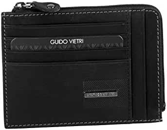 Wallet man GUIDO VIETRI black in leather pocket with zip credit cards A5698