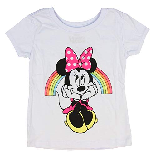 Disney Minnie Mouse Shirt Girls' Minnie Under Glitter Rainbow Licensed Character T-Shirt (SM, 7/8)