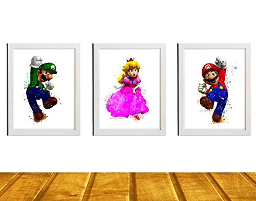 Super Mario Brothers Inspired Digital Prints, Watercolor Painting Effect, Illustration, Nursery Decor, 8 X 10 Unframed ()