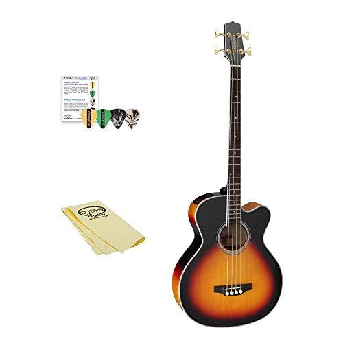 Takamine GB72CE BSB Jumbo Acoustic Electric Bass Guitar, Black Sunburst, with ChromaCast 4 Pick Sampler, & GoDpsMusic Polish Cloth ()