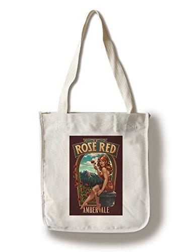 - Lantern Press Rose Red Amber Ale Pinup Girl (100% Cotton Tote Bag - Reusable)