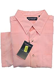 Roundtree & Yorke Brt Melon Textured Plaid Modal Button-down S/S Shirt Large