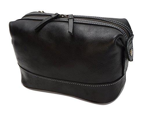 moda brillante de multifuncional Bags de Bolso Black para embrague cuero cuero Aceite para Bolso hombres Cremallera Bolso de qFAYx0vA
