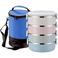 4 Layers Portable Stainless Steel Japanese Bento Box with Insulated Bag, Gradient Color Thermal Containers Lunch Boxs