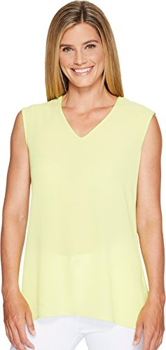 Vince Camuto Womens Extend Shoulder V-Neck Mix Media Textured Top Key Lime LG One Size