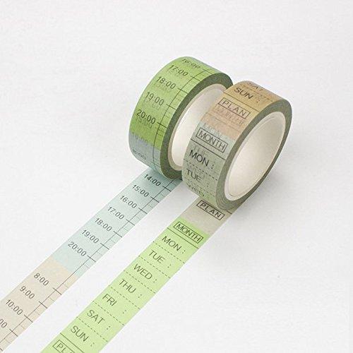 Chris. W 2 rollos decoración japonesa Washi cinta adhesiva š ...