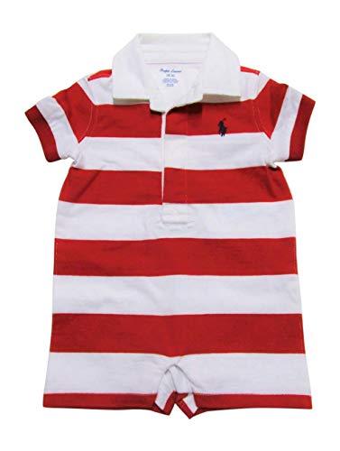 - Ralph Lauren Baby Boys Shortalls Bodysuit Striped Smooth Cotton (3 Months, RL2000 Red/White)