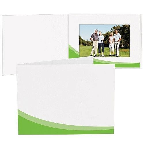 GREEN SWOOSH White Cardboard Photo Folder for 6x4 prints Our price is for 50 units - 4x6 by SendAFrame