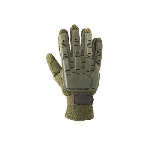 Valken V-TAC Full Finger Plastic Back Airsoft Gloves, Olive, Medium