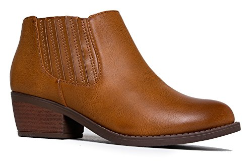 - J. Adams Arlo Western Bootie - Comfortable Round Toe Low Heel Slip On Ankle Boot