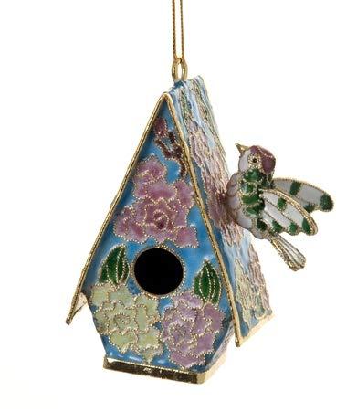 Value Arts Christmas Ornaments, Handmade Cloisonne Blue Roof Bird House Ornament