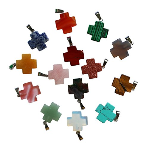 fubaoying 10pcs Cross Shape Gemstone Pendant for Necklace Healing Crystal Quartz Chakra Beads for DIY Jewelry Making (Crystal Cross Pendant Beads)