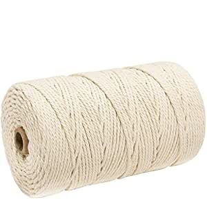 Vacally 1x Macrame Cord 3mm Cotton Rope for Handmade Plant Hanger Wall Hanging Crafts Knitting Decorative-200m Soft Cotton Strings