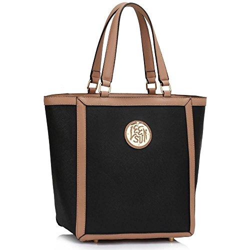 TrendStar Damen Konstrukteur Handtaschen Große Meine Damen Shopper Bag Kunstleder Schulter Tasche C - Schwarz