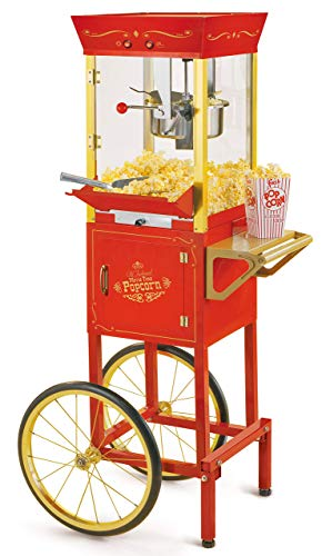 - Nostalgia CCP510 Vintage Professional Popcorn Cart-New 8-Ounce Kettle-53 Inches Tall-Red (Renewed)