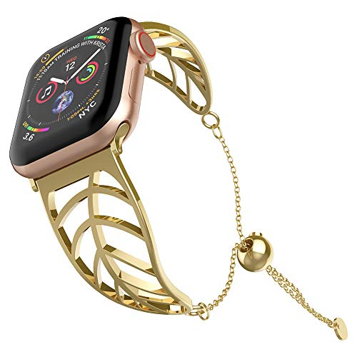 Price comparison product image UooMoo Chain Compatible for Apple Watch Jewelry Band 38mm 40mm,  Women's Stainless Steel Gold Metal Strap Replacement for Apple iWatch Series 1 / 2 / 3 / 4