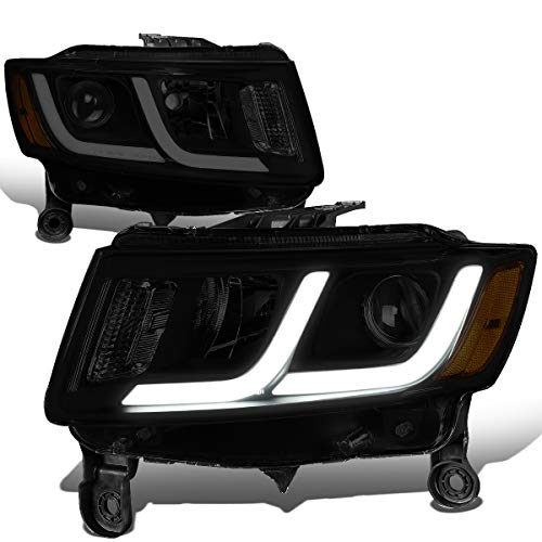 For 14-16 Jeep Grand Cherokee Tinted Housing Amber Corner LED DRL Projector Headlight/Lamps