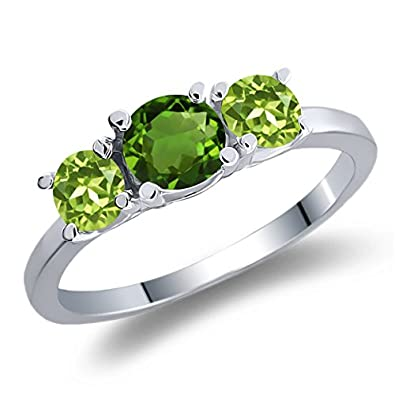 1.10 Ct Round Green Chrome Diopside Green Peridot 925 Sterling Silver Ring