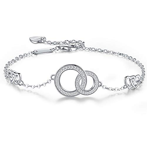 Mother Daughter Heart Love Bracelet,S925 Sterling Silver Adjustable Two Interlocking Circles Mom Friendship Cute Bangle Bracelets for women girlfriend,Gifts for Mothers Day and Birthday from Daughter