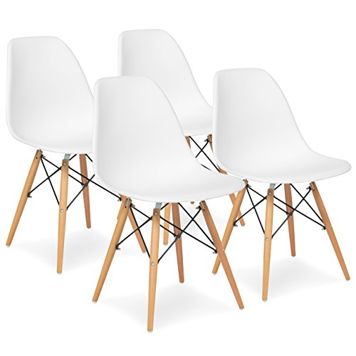 Best Choice Products Set of 4 Mid Century Modern Eames Style Dining Chair w/Wood Legs, Molded Plastic Shell - White
