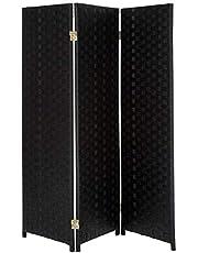 Oriental Furniture Small Size 3 Panel Room Divider, 4-Feet Rattan Like Woven Plant Fiber Folding Privacy Screen, Black