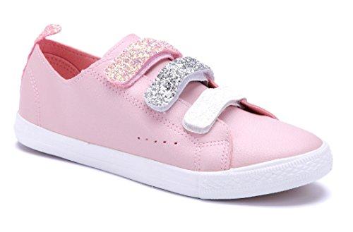 Schuhtempel24 Damen Schuhe Low Sneaker Flach Glitzer/Cut Out Rosa
