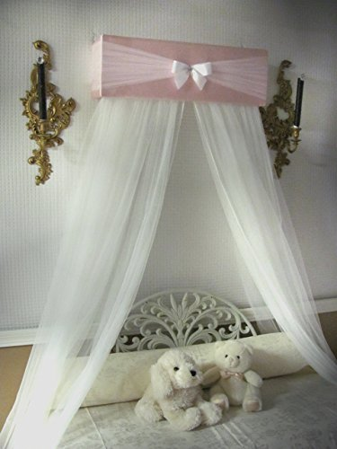 - Pink white tulle Bow with FREE curtains Canopy for Nursery Bed Crib Bedroom SALE designed by So Zoey Boutique