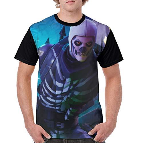 Men's Fortnite Skull Trooper Fashion Classic Comfy Casual&Slim T-Shirt Short Sleeve Tops for Adult