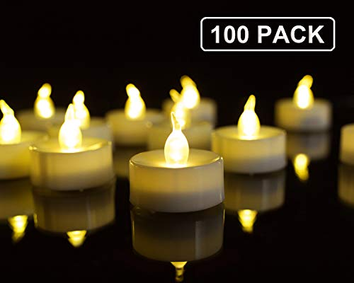 Homemory Battery Tea Lights Bulk, 100 Pack LED Tea Lights, Flickering Tea Lights, Long Lasting Battery Life, Warm White, D1.4 X H1.25