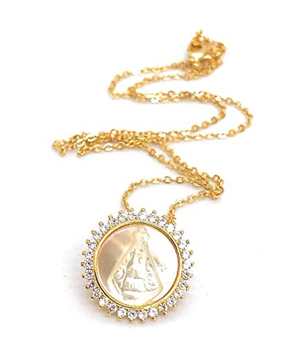 - Art & Designs by AA Virgin Mary 18K Gold Plated Necklace for Women 18' Virgen del Valle